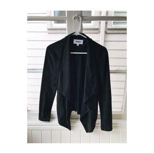 BB Dakota Faux Suede Drape Moto Jacket - Black